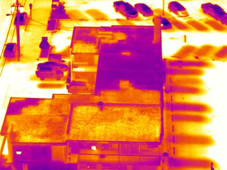 Infrared scan of a flat roof